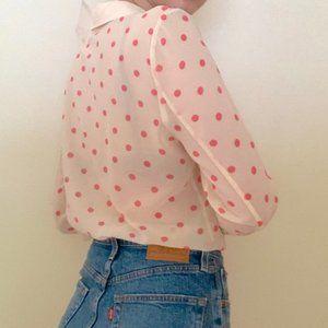 Hinge Pink Polka Dot Cream Button Up Top Sheer XS